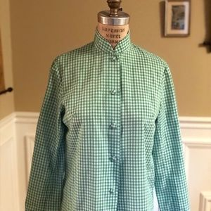 Green Gingham Vintage Top with Mandarin Collar